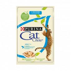 Влажный кормCat Chow для взрослых кошекслососем изеленым горошком, Пауч, 85 г