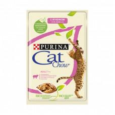 Влажный корм Cat Chow для взрослых кошек с ягненком и зеленым горошком, Пауч, 85 г