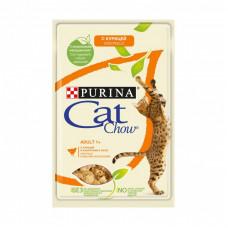 Влажный корм Cat Chow для взрослых кошек скурицей и кабачком, Пауч, 85 г