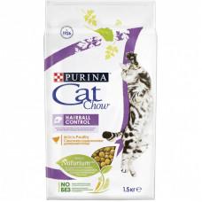 Сухой корм Cat Chow для взрослых кошек контролирует образование комков шерсти в ЖКТ, Пакет, 1,5 кг