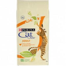 Сухой корм Cat Chow для взрослых кошек с домашней птицей и индейкой, Пакет, 15 кг
