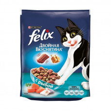 Felix Двойная вкуснятина сухой корм для кошек с рыбой, Пакет, 300 г