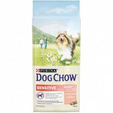 Dog Chow Sensitive для взрослых собак с чувствительным пищеварением, лосось, пакет, 14 кг