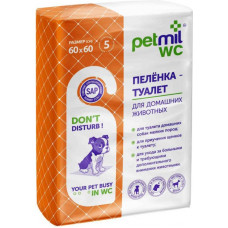 """Пеленка-туалет для животных """"Petmil WC"""", впитывающая, гелевая, 60 х 60 см, 5 штук"""
